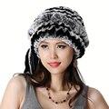 Hecho a mano Invierno de Las Señoras de Bienes Naturales Rex Rabbit Fur Sombreros Gorras Skullies Gorros Sombreros de Las Mujeres de Piel Caliente VF0483