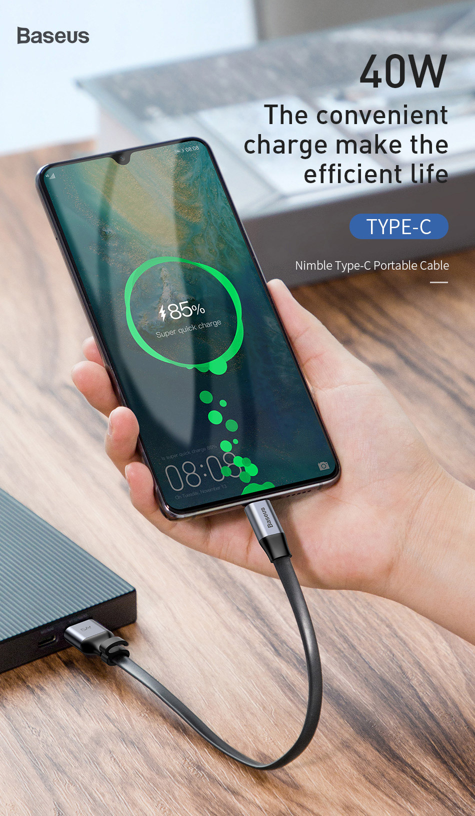 Baseus 0.23m Portable 40W Flash Charge USB Type C Cable 5A Quick Charge