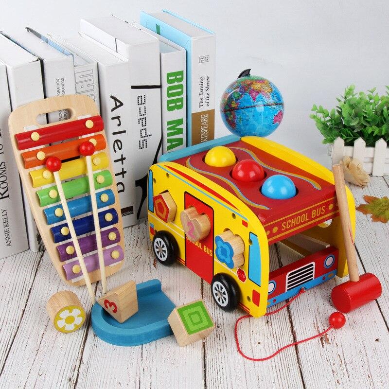 Enfants Montessori Éducatif En Bois Jouet Pour Enfants Glisser Autobus Scolaire Battre Frapper Boules Forme Correspondante Huit Piano Tout-petits Jouet