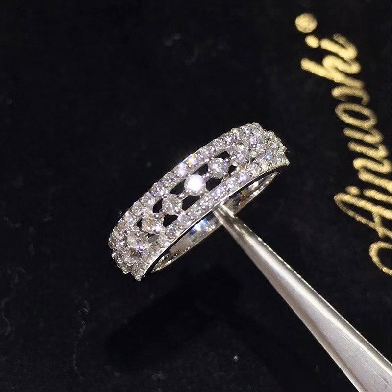 Ani 14 К из белого золота (au750) свадебные Для женщин Кольца certified я-J/SI 0.807 КТ круглой огранки Валентина обручальное кольцо