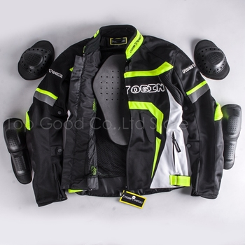 Top Good Motorcycles Mesh Fabric Jacket  Summer Wear Breathable  Hard Protective Overalls Motorcycle Clothing WY-F607 Green