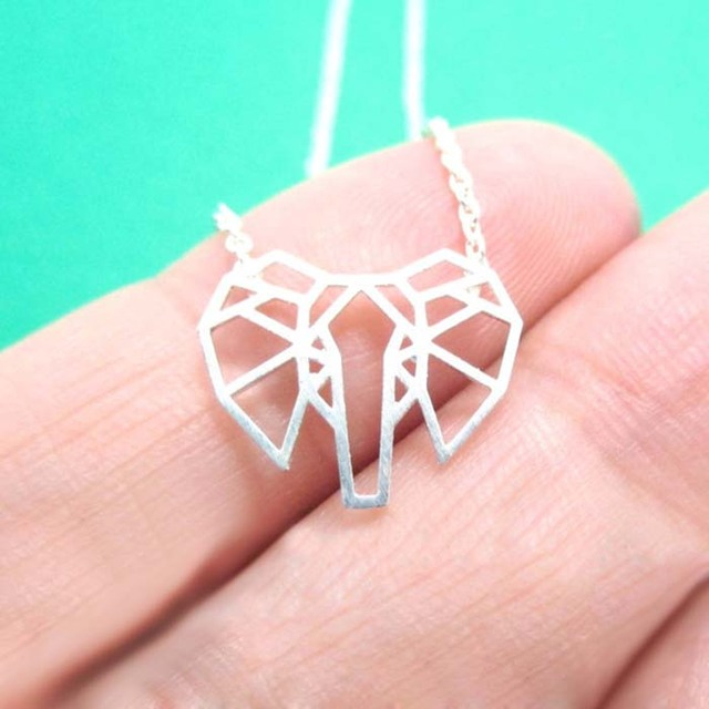 Daisies 10pcs Lot Fashion Pendant Necklace African Elephant Face Outline Shaped Animal Necklaces For Women