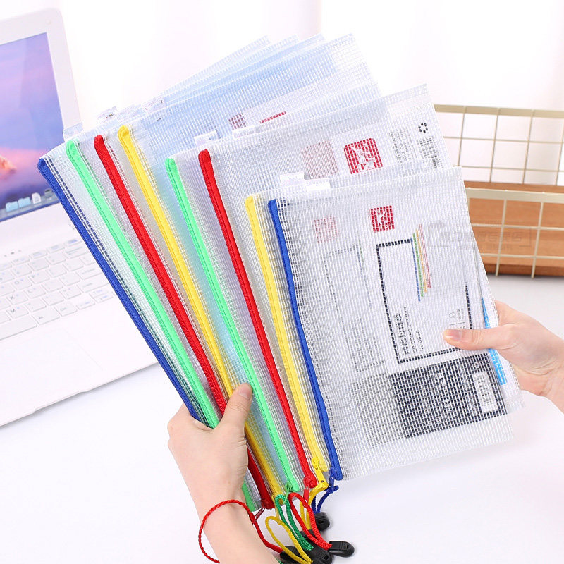 10pcs or 1pcs optional gridding waterproof Zi Pdocument Bag Filing Products Pocket Folder  Office School file folder Supplies 2