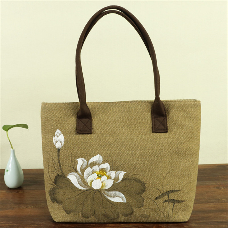 Women's Lotus Print Linen Shoulder Bag 2