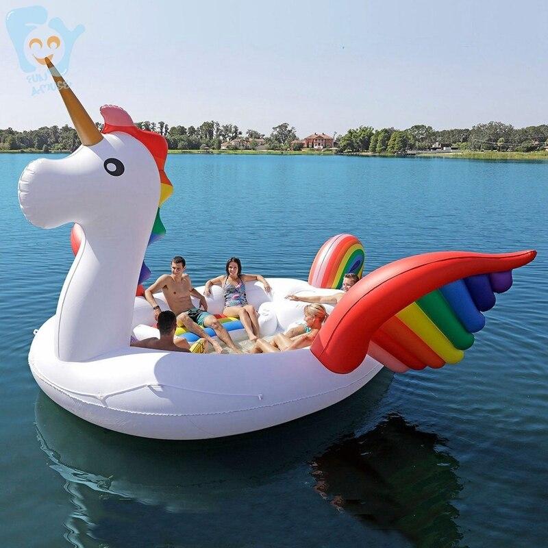 6 pessoa Unicórnio Inflável Gigante Piscina Float Ilha Piscina Lago Beach Party Brinquedos Barco Da Água Colchões de Ar Flutuante