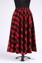 Faldas Largas 2016 Autumn Winter 7XL Plus Size Maxi Long High Waist Women's Tartan Plaid Print Grid skirt
