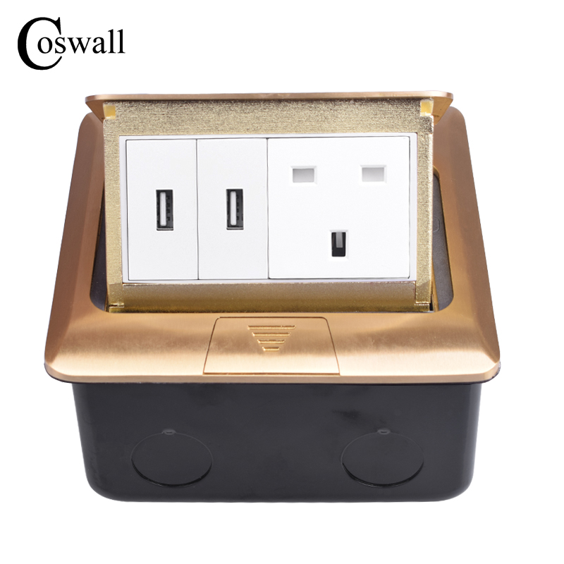 Coswall Pure Copper Gold Panel Pop Up Floor Socket 13A UK British Standard Power Outlet With Dual USB Charge Port Metal Box british mk british unit power supply socket metal 13a power outlet british standard unit socket