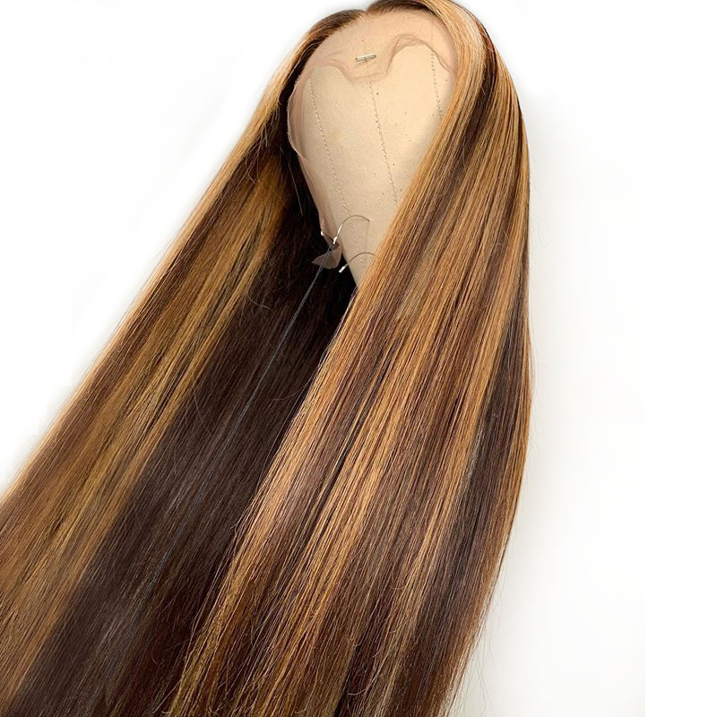 Highlight Ombre Honey Blonde Human Hair Wig Colored Brown