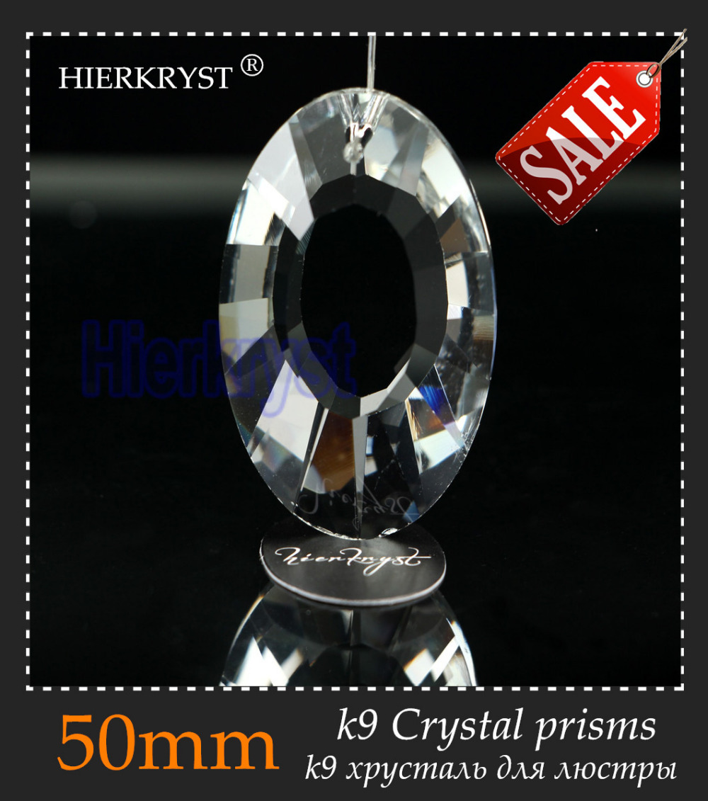 HIERKYST 5 Pcs K9 Glass Crystal Prisms Pendants Chandeliers Parts Lustres Rainbow Lamp Lighting Hang Drops 50mm 2
