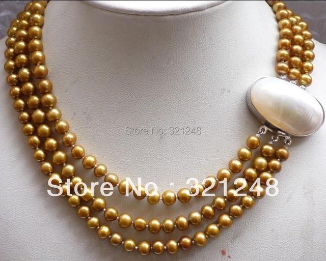 Envío libre diy elegantes 3 filas 8mm ronda collar de perlas de shell corchete de la simular-perla joyería making 17-19 pulgadas MY2330