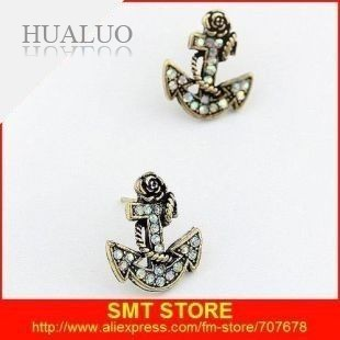 Fashion Metal Anchor Stud rose pirates Covered With Colorful Gem Earrings E155
