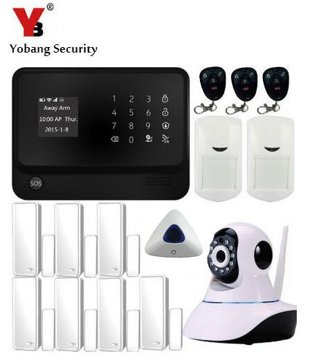 Yobang Security WIFI GSM For iOS Android APP Wireless Home Security Alarm System with ip camera, wifi GSM alarm system yobang security wireless zones app control security home kits wifi gsm alarm system with 2 ip camera for home protection