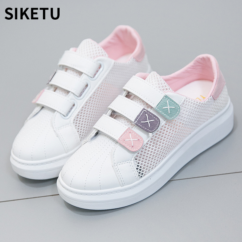 Hook & Loop White Shoes Women Fashion Flat Leather Canvas Shoes Female White Board Casual Sneaker Womens Vulcanize Flat Shoes