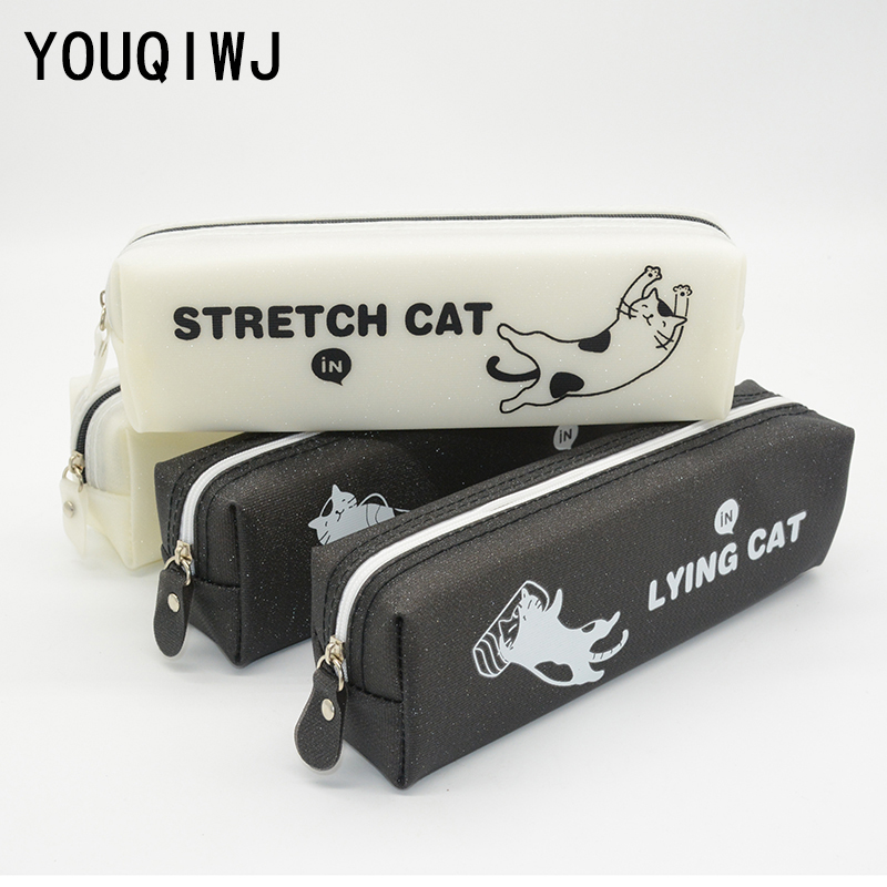 Cat School Pencil Case Kawaii Estojo Escolar Kalem Kutusu Pencilcase Box Estuches Para Lapices Silicone Pen Case Astuccio Scuola