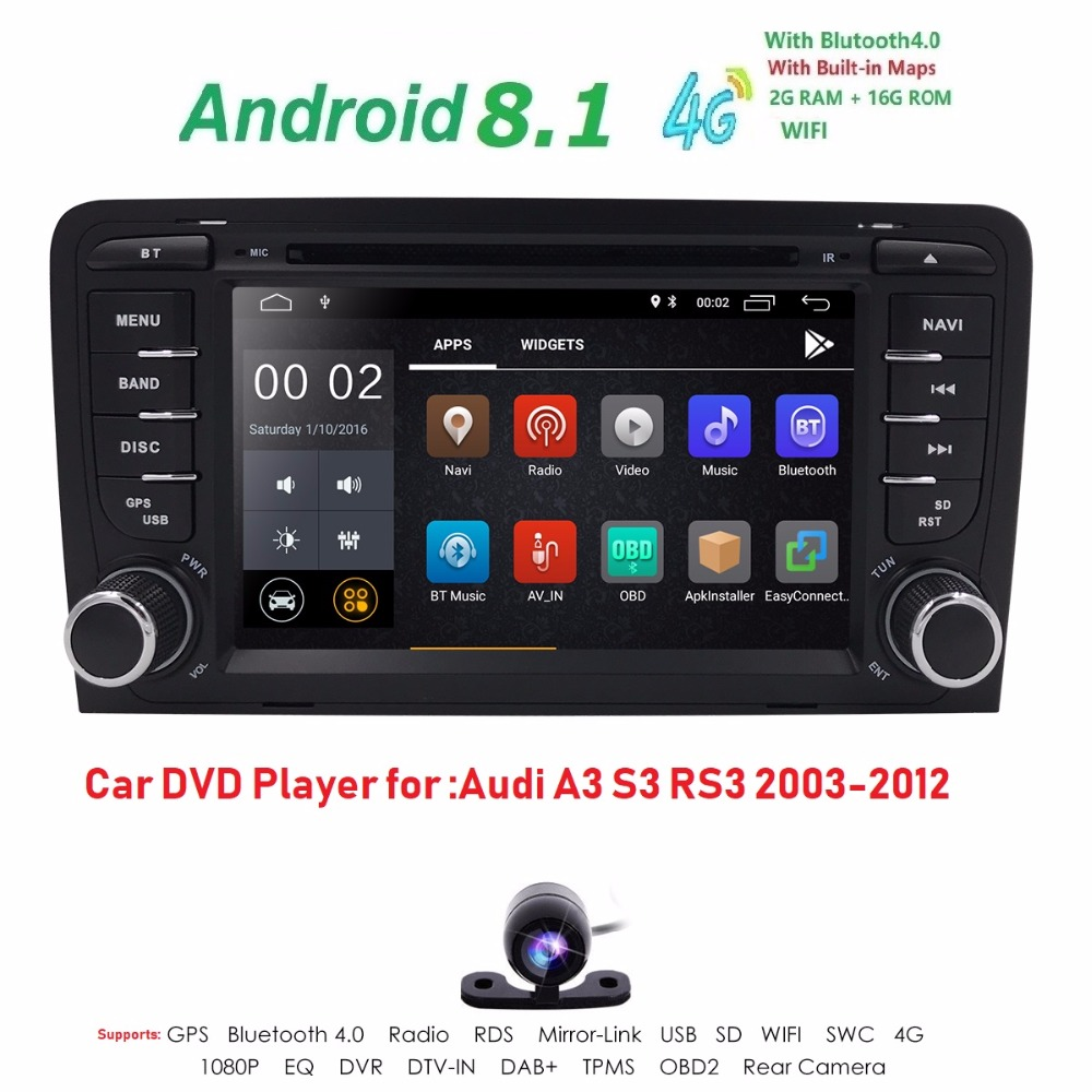 1024X600 Android8.1 2 din voiture dvd gps navigation pour Audi A3 S3 RS3 2003-2012 voiture radio multimédia aoturadio lecteur écran tactile