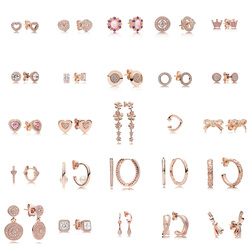 25 estilo 925 prata esterlina rosa ouro cor brincos bowknot coração com brincos de cristal completo para festa de casamento feminino jóias