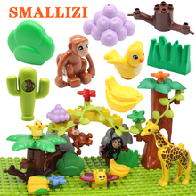Купить с кэшбэком Animal  Original Big Building Blocks Classic Accessories Compatible with Duplo Figure Set Bricks Children Baby Toys DIY Gift