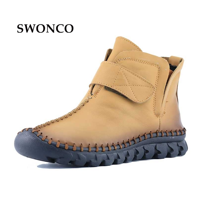 Women's Fashion Hook and Loop Flats Boots Ankle Boots