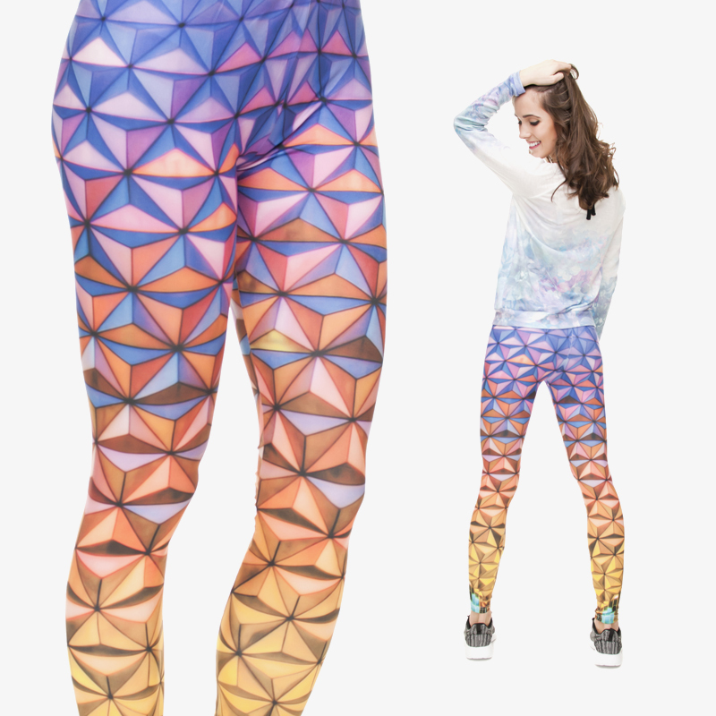 2015 New Fashion 3D Digital 3D Colorful Epcot Geometric Print  Leggings Of Girl Women Female Funny Leggings of  Skinny Pants