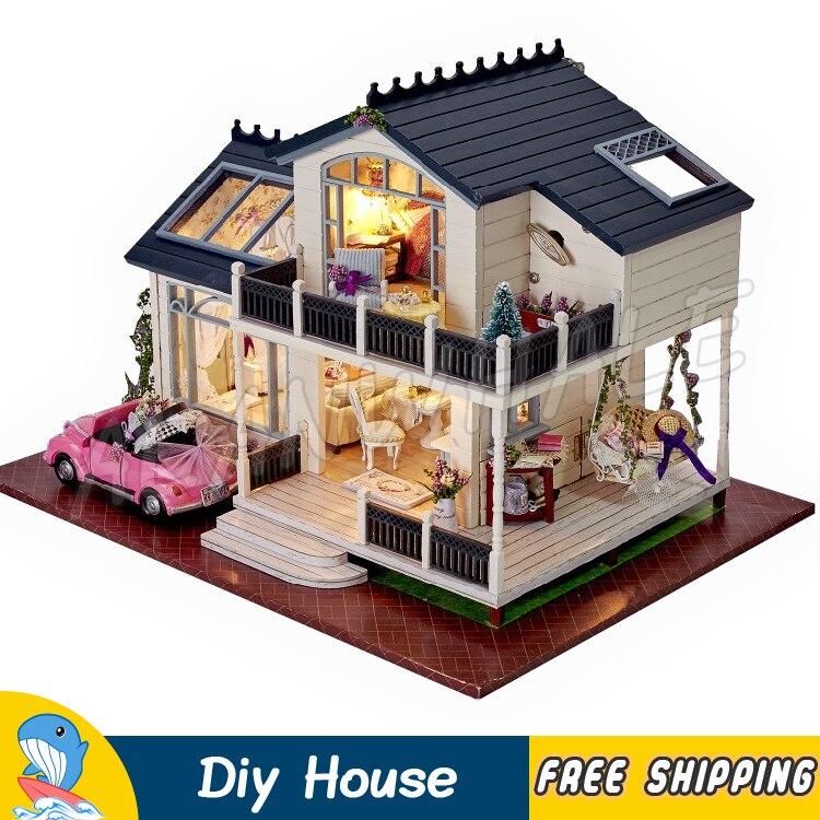 Maison de poupée Miniature Provence Villa bricolage unisexe maison de poupée en bois avec meubles adulte adolescent jouets modèle construction cadeaux ensembles