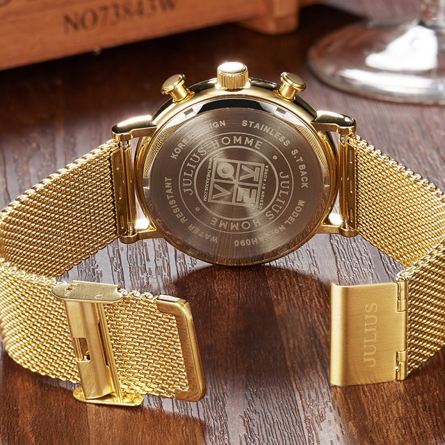 2016 Julius Mens Watches Top Brand Luxury Stainless Steel Mesh Band Gold Watch Man Business quartz-watch Male Relogio Masculino