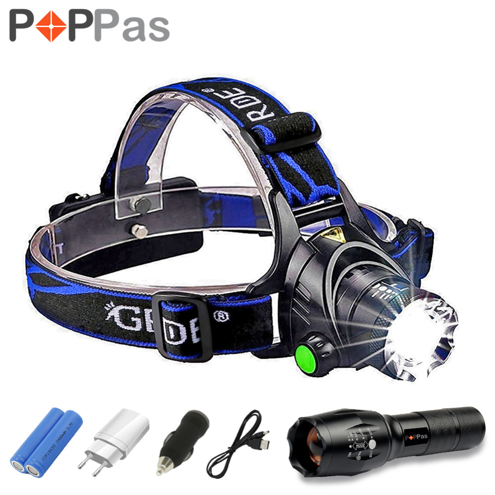 LED CREE XM-L T6 L2 Chips Headlight Headlamp Rechargeable Zoom Head Light Lamp 2x18650 Battery+Car Charger+DC Charger Flashlight 2 in 1 13t6 bicycle headlight headlamp 23000 lumen 13x cree xm l t6 led cycling helmet bike light 18650 battery pack charger