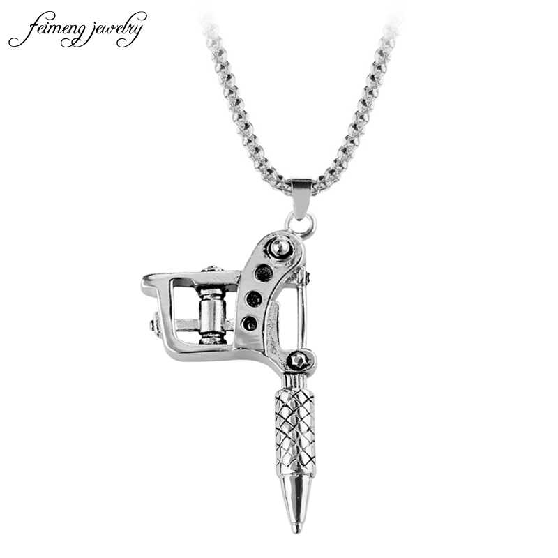 1pcs Fashion Mini Tattoo Machine Necklace Pendant Punk Style Necklace For Women & Men's Hip Hop & Rock Jewelry Gifts