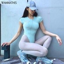 WannaThis Short Sleeve O-Neck Sexy Bodysuit Solid Elastic Casual Body Blue Zipper Irregular Streetwear Slim 2019 Summer