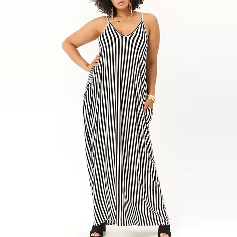 Buy black white striped maxi dress long and get free shipping on  AliExpress.com 45c957893572