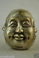 Stary Kolekcje Zdobione Handwork Miao Srebrny Carve 4 Twarzy para Tybetański Budda słowo miedź Hurtownie 2 sztuk brązu w Posągi i rzeźby od Dom i ogród na