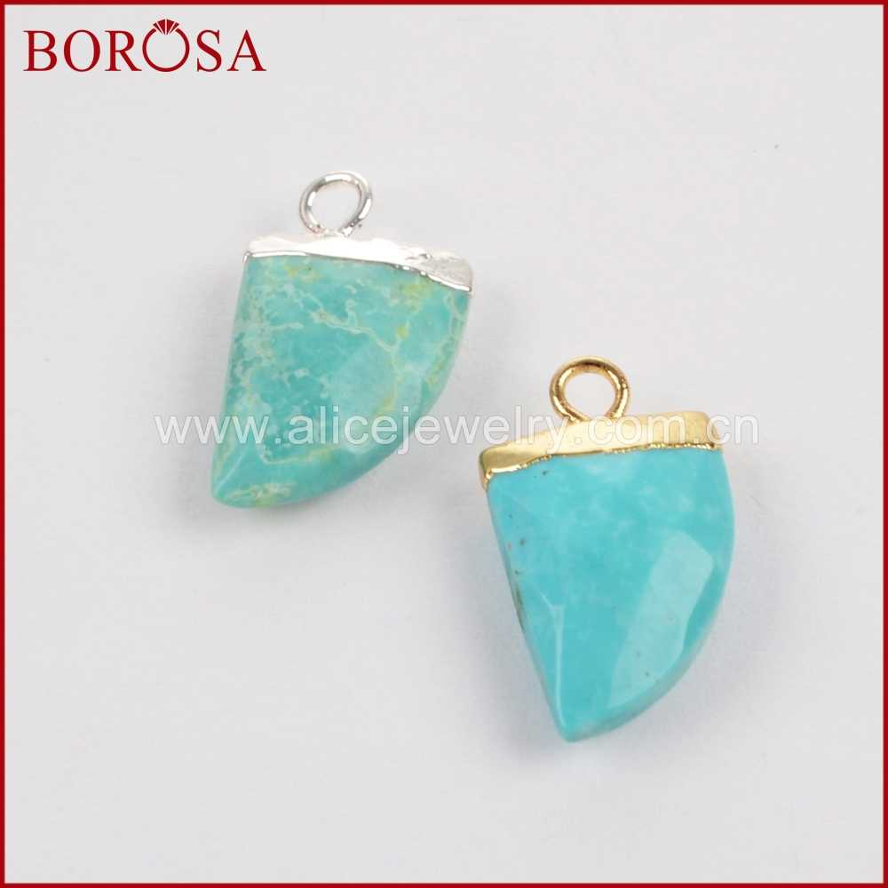 BOROSA Clearance Sale 10PCS Silver Color Natural Blue Stone Druzy Faceted Horn Charm for Earrings Jewelry for Women S1368
