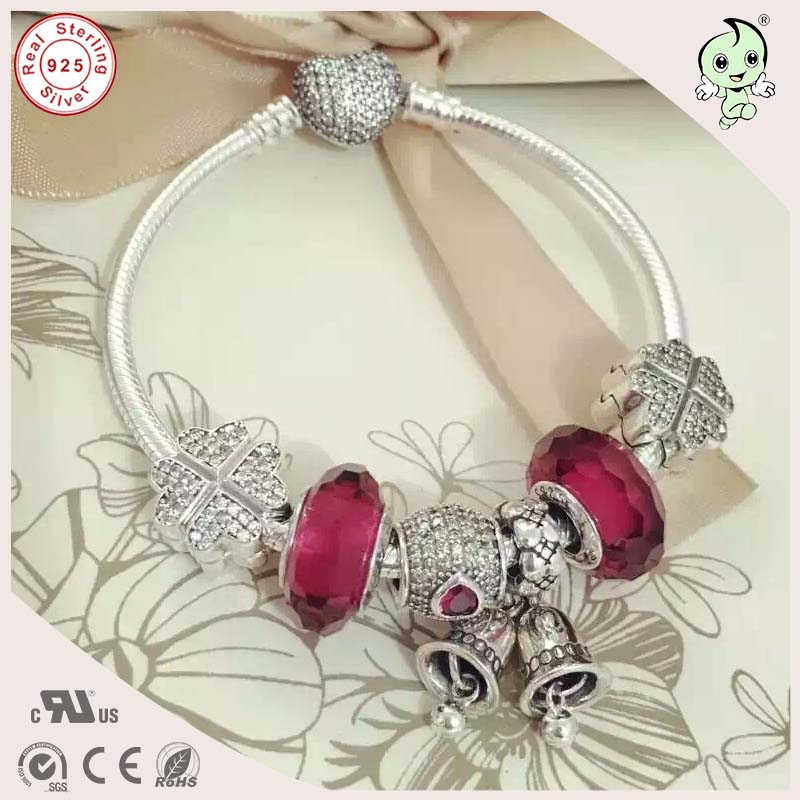 DIY Love Red Style Nice Quality Beautiful 100% 925 Real Silver Charm Bracelet With Love Heart Clasp for women