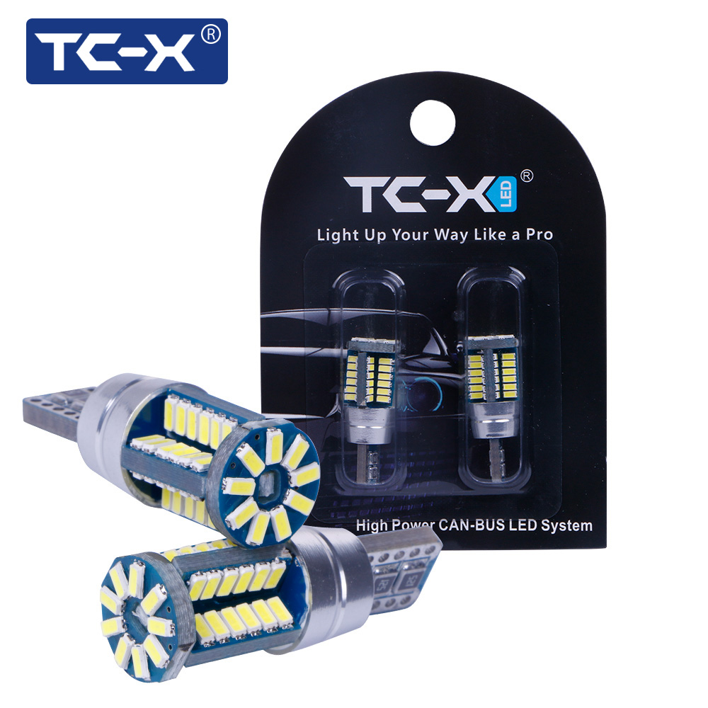 TC-X 2pcs W5W T10 Ampoule LED 57 LEDs 3014 SMD EMC CAN-BUS Voiture Signal lumineux intérieur 12V Blanc Super Bright Door Light Bagages Lampe