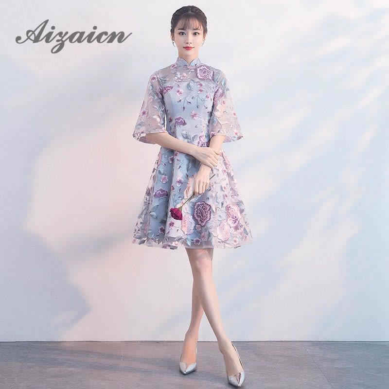 8b937426564 Modern Chinese Traditional Dress Lace Embroidery Qipao Cheongsam Dress Knee  Length Floral Vintage Dress Oriental Wedding