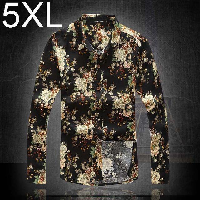 2017 primavera verano retro vintage de algodón masculina camisa de lino de los hombres de largo manga de Bohemia Hawaii Hombres Floral Camisa 5XL 6XL Tamaño Grande Más