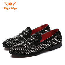 Heye Wings 2019 black color leather Diamond Rhinestones Spiked mens shoes Wear-resistant rubber sole flat loafers