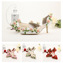 Woman Shoes High-heeled Bridal Shoes White Pointed Toe Wedding Whoes Flower Red Thin Heels high heels Sandals Toe Cap Covering