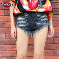 Plus size 2017 new women novelty harajuku sexy rivet hot denim shorts high waist black fringe jeans hole shorts