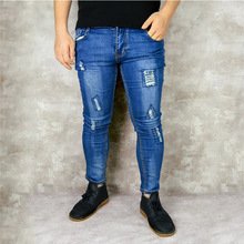 Mens jeans brand skinny casual pants 2019 denim black stretch pencil large size street wear