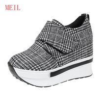 Women Hidden Increased 9CM Vulcanized Shoes 2019 Casual Wedge Sneakers with Platform Fashion Woman Zapatillas Chunky Mujer