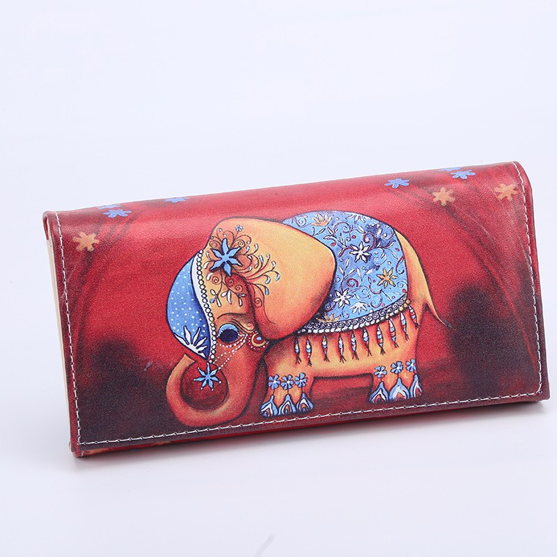 New Arrival Standard Women Wallet PU Leather Lady Elephant Hasp Long Purses ID Cards Photo Holder Wallets Girls Red Coin Purse