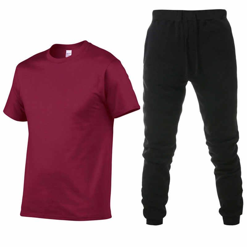 Zestawy męskie koszulki z krótkim rękawem + spodnie dwa kawałki ustawia dres codzienny mężczyźni/kobiety nowa moda drukowanie garnitury odzież sportowa siłownie spodnie fitness