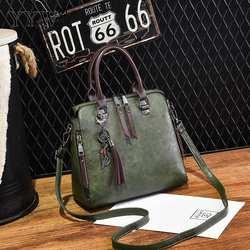 Оптовая Продажа искусственная кожа сумки для Для женщин 2018 одноцветное Crossobody сумка с Ленточки Винтаж Сумки Для женщин сумки Топ-ручка сумка