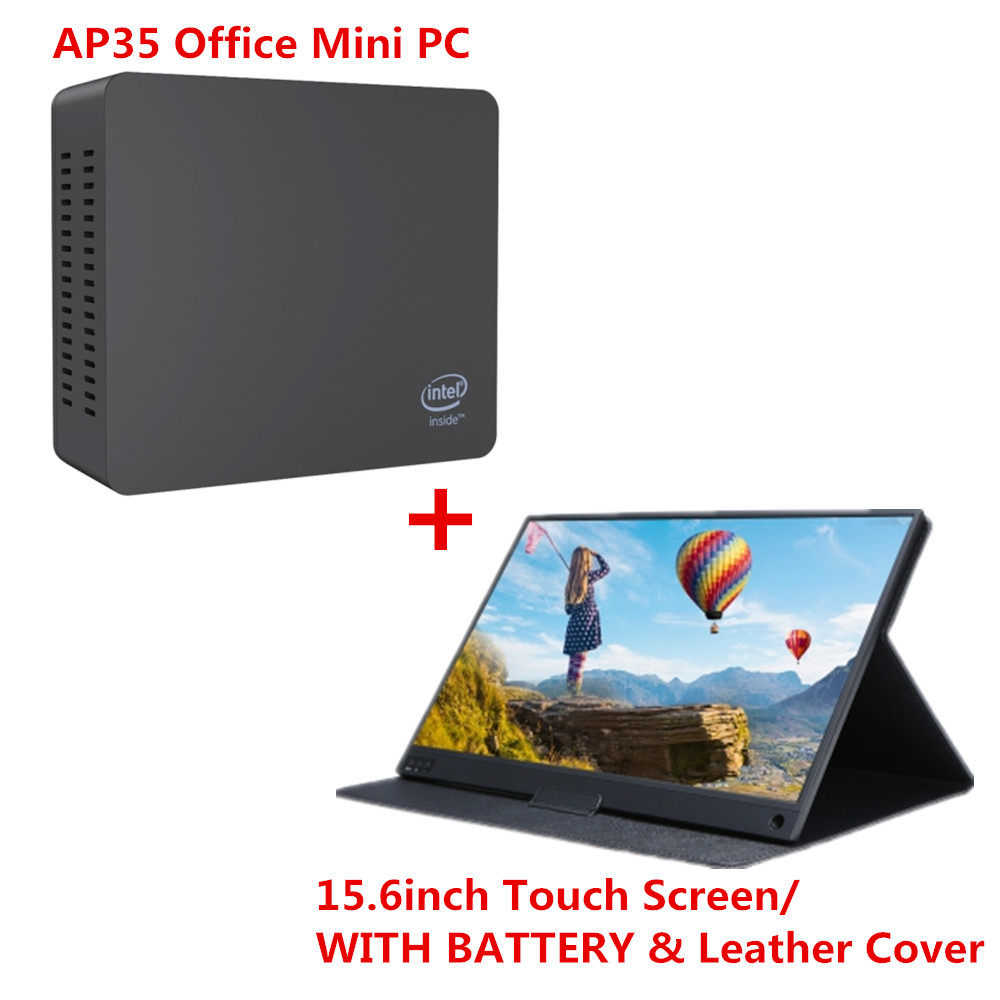 AP35 Office Mini PC Intel Apollo Lake J3355 Intel HD Graphics 500 4GB+ 64GB 2.4G/5.8G WiFi 1000Mbps With 15.6 Inch IPS Display