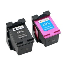 Vilaxh 2pcs Compatible Ink Cartridge for 62XL hp62 62 5640 5660 7640 5540 5544 5545 5546 5548 Officejet 5740 5741 5742 5743