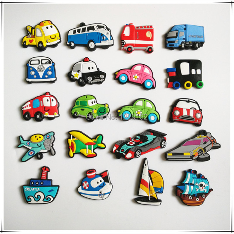 Free shipping (14pcs/lot) Silicon Gel Transportation fridge magnets  whiteboard Magnets sticker Educational Kids gift