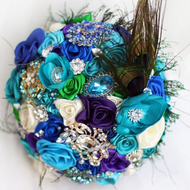 Невеста Творческий павлин перо букет, новое поступление Романтическая Свадьба Небесно-голубой и фиолетовый цветы брошь свадебные Невесты Букеты