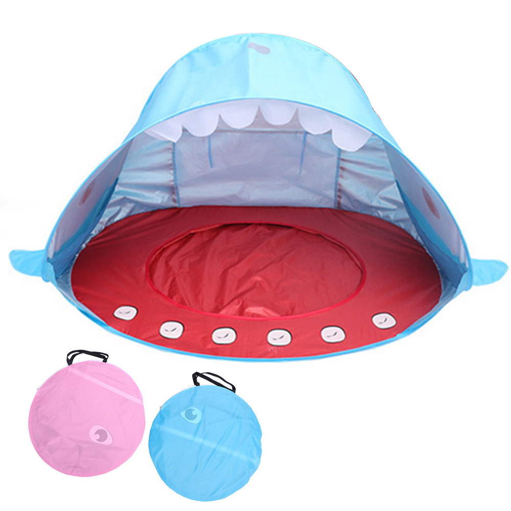 Summer Uv Protecting Baby Beach Tent Portable Ballenbak Shark Shape Teepee Play House Outdoor Swimming Pool Play Tent For Kid