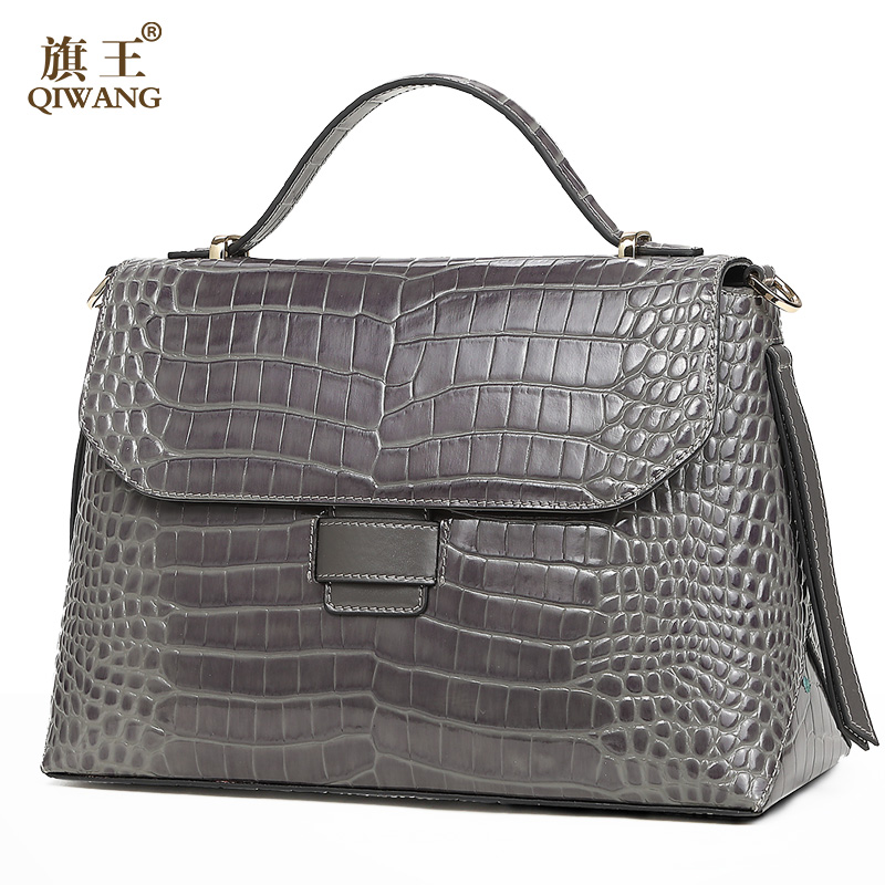Qiwang Women Flap handbags Genuine Cow Leather Handbag for Woman 2019 Luxury Shoulder Bag Lady Hand