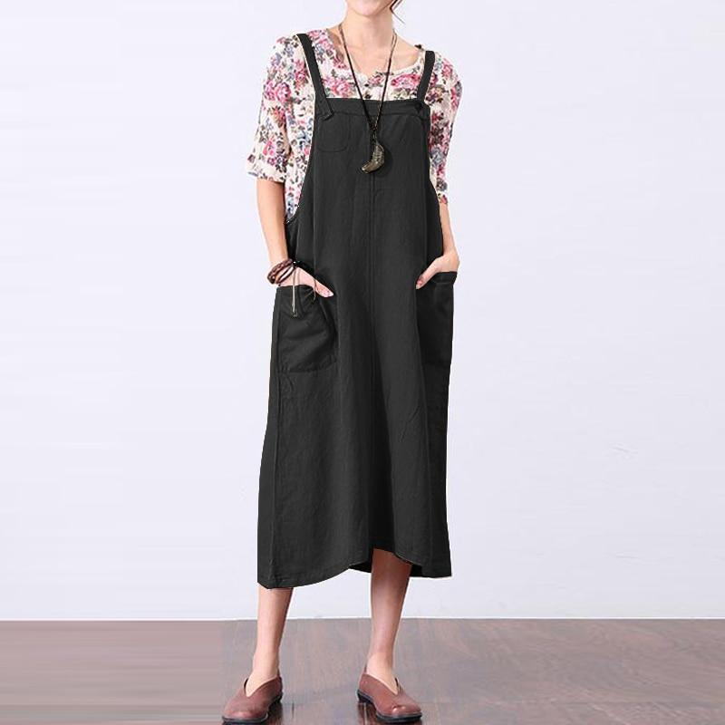 2018 ZANZEA Women Cotton Linen Strappy Suspenders Dress Summer Sleeveless Pockets Party Loose Solid Dungarees Vestido M-5XL